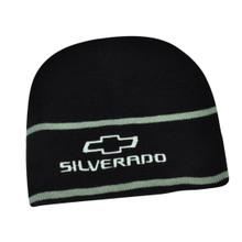 Hat - Chevrolet Silverado Embroidered Knit Beanie Cuffless Cap Black & Silver