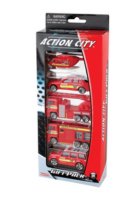 FIRE DEPARTMENT Vehicle 5 Piece Gift Set Action City Diecast FREE SHIPPING
