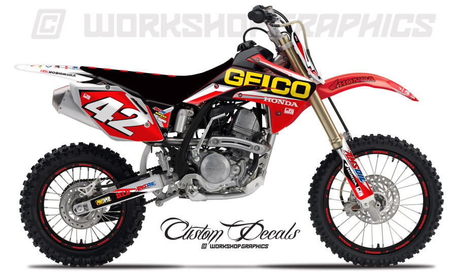 Crf150 Geico Graphics Kit Workshop Graphics