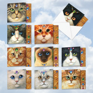 MQ4602TY - Fancy Felines: Square-Top Mixed Set of 10 Cards