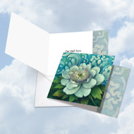CQ4594AGW - Blue Magnolia: Square-Top Greeting Card