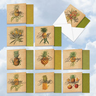 ACQ4938OC - Pineapple Plenty: Square-Top Assorted Set of 10 Cards