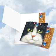 CQ4602HTY - Fancy Felines Blue Tuxie: Square-Top Greeting Card