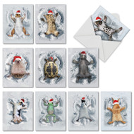 M4187HH - Critter Snow Angels: Assorted Set of 10 Cards