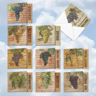 MQ4603OC - Through The Grapevine: Square-Top Assorted Set of 10 Cards