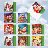 MQ4983XS - Christmas Fingers: Square-Top Assorted Set of 10 Cards