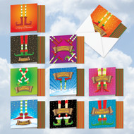 MQ4985XS - Elf's Feet And Greet: Square-Top Assorted Set of 10 Cards