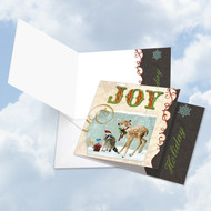 CQ4626BXS - Deer And Cheer - Joy: Square-Top Printed Card