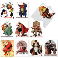Famous Norman Rockwell pieces such as paintings depicting carolers, Santa looking over the globe, a traveler, and Santa surveying a map.