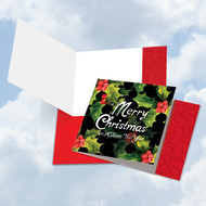 CQ4984AXS - Multidimensional Christmas Hollies: Square-Top Greeting Card