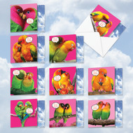 MQ4628VD - Love-Birds: Square-Top Assorted Set of 10 Cards