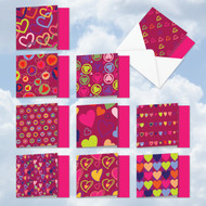 MQ5652VD - A Lot Of Heart: Square-Top Mixed Set of 10 Cards