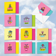 MQ5663VD - Love Doodles Notes: Square-Top Assorted Set of 10 Cards