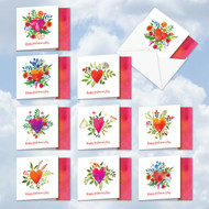 MQ5664VD - A Big Watercolor Heart: Square-Top Mixed Set of 10 Cards