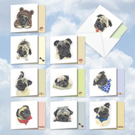 AMQ5648OC - Snuggle Pugs: Mini Square-Top Mixed Set of 10 Cards