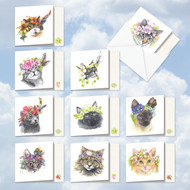 AMQ5649OC - Fabulous Felines: Mini Square-Top Assorted Set of 10 Cards