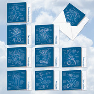 AMQ5650OC - Floral Blueprints: Mini Square-Top Mixed Set of 10 Cards