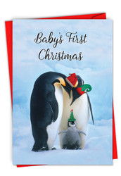 C2951FXS - Penguins and Greetings-Baby's First Christmas: Greeting Card