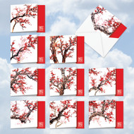 AMQ5072CN - Chinese Cheers and Cherries: Mini Square-Top Mixed Set of 10 Cards