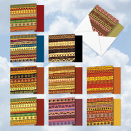 AMQ6116OC - African Motifs: Mini Square-Top Assorted Set of 10 Cards