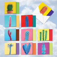 AMQ6139OC - Colorful Cacti: Mini Square-Top Mixed Set of 10 Cards