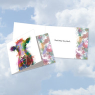 CQ4948ETY - Funky Rainbow Wildlife-Cow: Square-Top Greeting Card