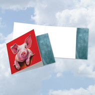 CQ6218COC - Animal Magnetism-Pig: Square-Top Printed Card