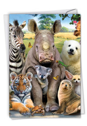 C6639AGW - Here's Looking At Zoo: Greeting Card