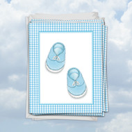 M6444BB - Blue Baby Booties: Mini Paper Card