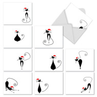 Artistic renderings of a stylized black cat with a Santa hat appear on a stark, white background on these smart cards for the cat lover.