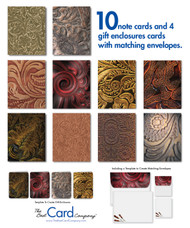 Blank note cards with tooled leather designs