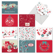 M6663XS - Red And Blue Retro Christmas: Assorted Set of 10 Cards