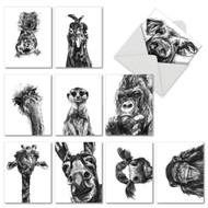 M2956TY - Charcoal Animals: Mixed Set of 10 Cards