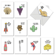 10 Assorted All Occasion Note Card featuring Cartoons and Blank Inside (M2975OCB Fun Puns Notecards)