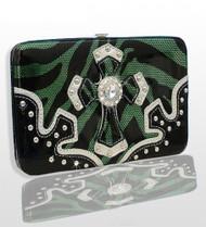 Green Western Style Cross Wallet with Rhinestones