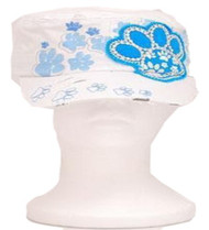 Kids White and Blue Paw Vintage Hat with Rhinestones
