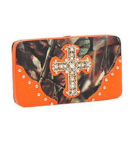 Orange Camouflage Fashion Cross Wallet With Rhinestones and Stud
