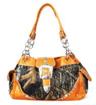 Orange Camouflage Western Buckle Purse