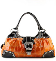 Orange Western Buckle Rhinestone Handbag