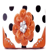 Polka Dot Orange Flower Clutch Opera Wallet