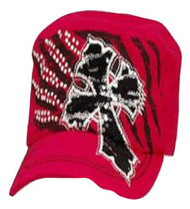 Pink Rhinestone Accented Cross Cadet Hat