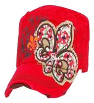 Red Fleur De lis with Rhinestone Hat
