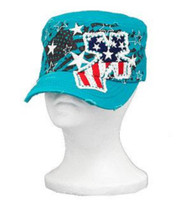 Turquoise Stars and Stripes Rhinestone Cross Cadet Hat
