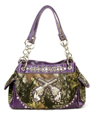 Western Purple Camouflage Double Pistol Handbag Purse