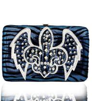 Blue Western Style Fleur de Lis with Wings Wallet