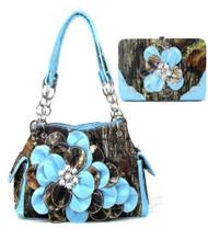 Western Blue Camouflage Flower Rhinestone Handbag W Matching Wallet