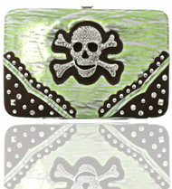Green Skull Studded Wallet
