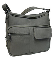 Roma Leathers 7081 Grey Concealed Carry Leather Gun Purse with Organizer