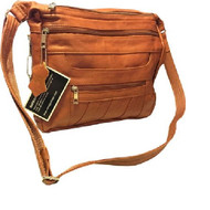 Roma Leathers 7082 Light Brown Genuine Leather Locking Concealed Purse