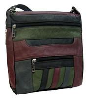 Roma Leathers 7082 Multi Color Genuine Leather Locking Concealed Purse
